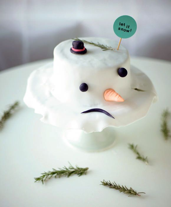 DIY Melted Snowman Cake
