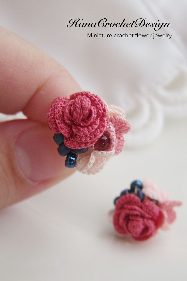 Miniature Crochet Rose Stud Earrings Miniature Crocheted Rose With Japanese Beads Crochet T Crochet Jewelry Crochet Flower Patterns Crochet Thread Projects