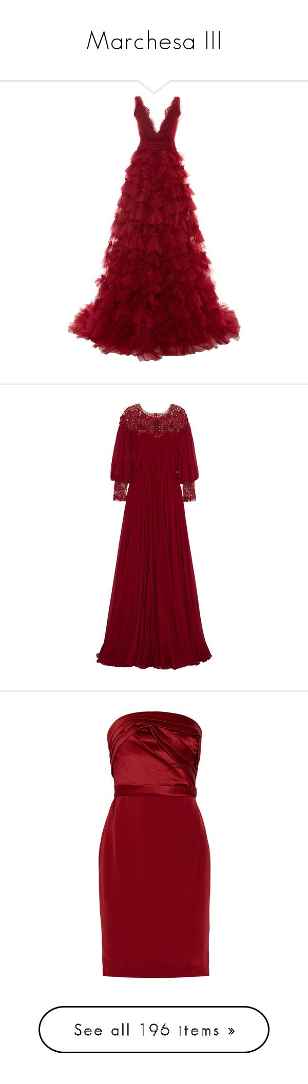 """Marchesa III"" by sakuragirl ❤ liked on Polyvore featuring dresses, gowns, long dresses, vestidos, red, marchesa gowns, red v neck dress, deep v-neck dresses, red evening dresses and marchesa"