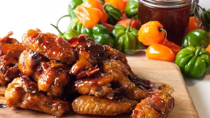 Honey Habanero Bacon Chicken Wings by Leah Wildman