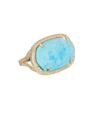 Pave Oval Cocktail Ring in Turquoise Magnesite - Kendra Scott LUXE.