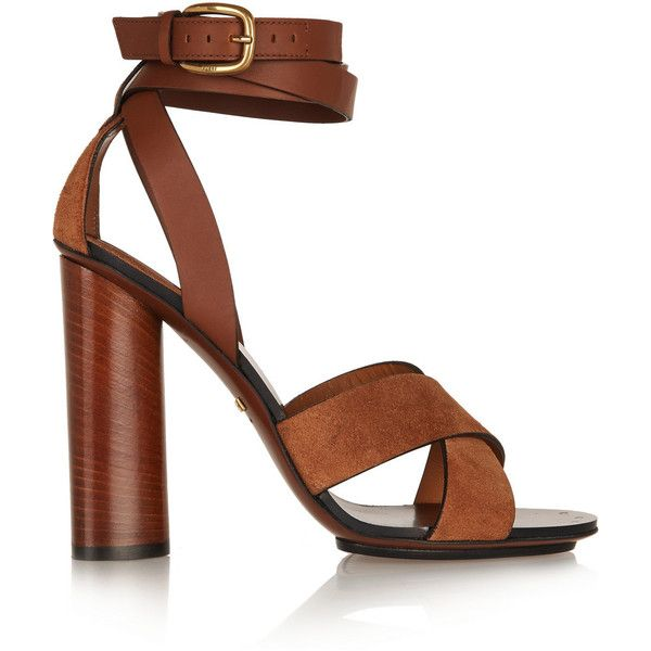 Gucci Leather and suede sandals found on Polyvore featuring polyvore, fashion, shoes, sandals, gucci, brown, brown shoes, real leather shoes, wrap around sandals and gucci sandals