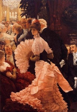 제임스 티소 [야망을 품은 여인], 1883~1885, 캔버스에 유채, 올브라이트녹스 미술관    제임스 티소는 당대의 패션에 대한 정확한 묘사와 신비로운 색조의 사용으로 유명한 프랑스 화가이다. 파리 사교계 여인들을 정교하고 생기있게 그린 그림으로 유명해졌다.    이 그림은 오르세 미술관에 소장되어 있는 [무도회] 란 작품과 여인이 입고 있는 드레스의 색깔만 다를 뿐 매우 유사하다.  백발의 한 남성과 팔짱을 낀 채 화려한 의상을 입고 있는 여인 주변으로 수군거리는 사람들로 보았을 때, 당시의 사회상을 엿볼 수 있는 흥미로운 묘사이다. 자신의 야망을 위해 나이 많은 남자의 팔을 잡고 있는 그녀는 [무도회]에 그려진 여성과 비교해 보았을 때 표정 또한 묘하게 바뀐 듯 하다.
