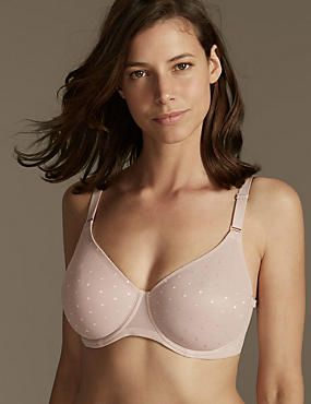 Smoothing Lace Back Non-Padded Underwired Minimiser Full Cup Bra C-G
