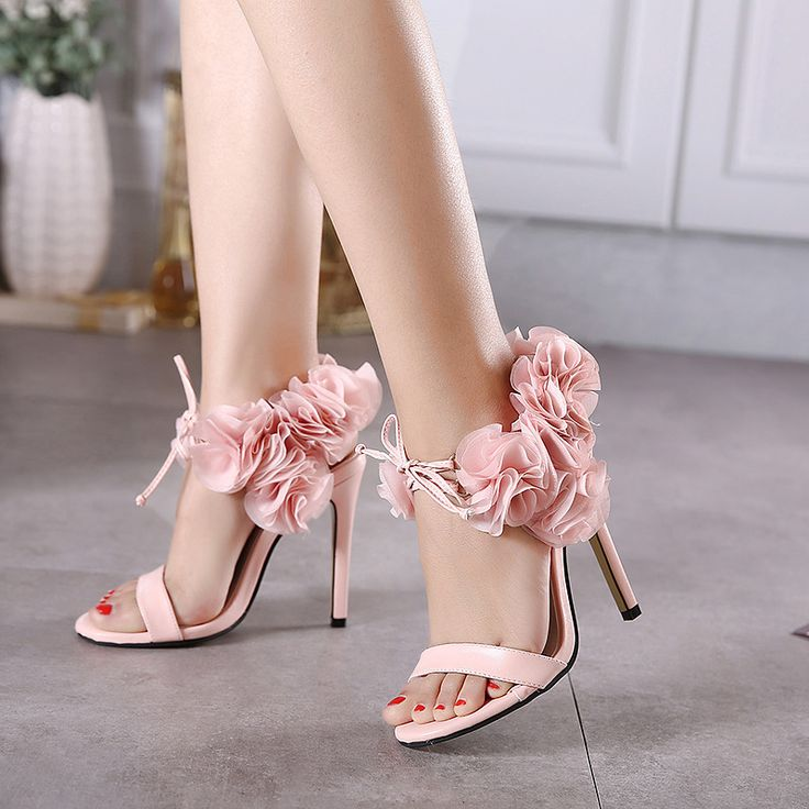 Elegant PInk Black Women Sandals 2017 Summer High Heel Open Toe Shoes with Flowers High Quality Ladies Party Evening Shoes