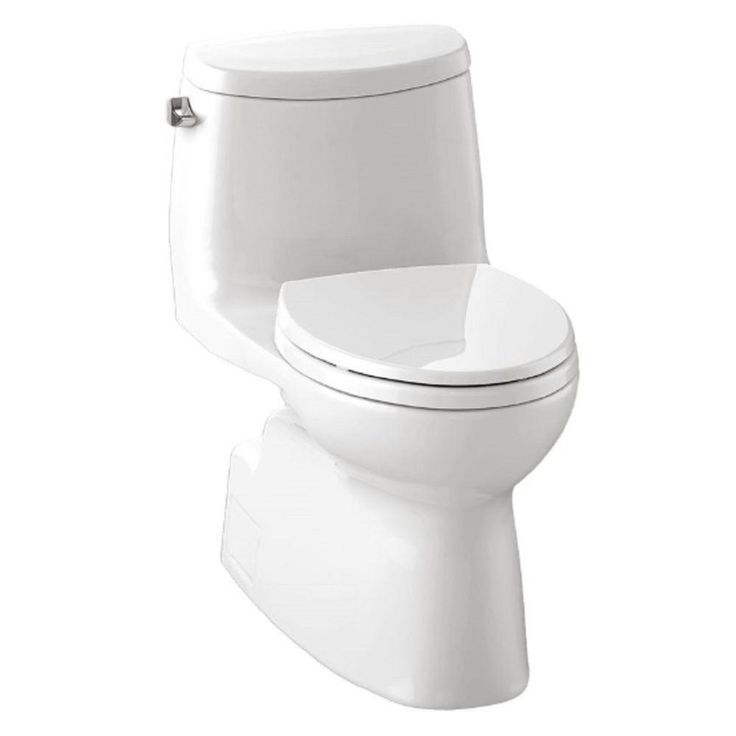 Toto Carlyle-2 High-Efficiency 1-piece 1.28 GPF Single Flush Elongated Toilet with SanaGloss in Cotton-MS614114CEFG-01 - The Home Depot