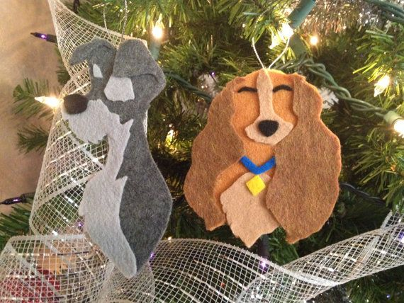 Lady and the Tramp felt ornaments!  Source: https://www.etsy.com/listing/211074233/50-off-lady-and-the-tramp-felt-ornament?ref=sr_gallery_21&ga_search_query=disney+felt+ornament&ga_search_type=all&ga_view_type=gallery