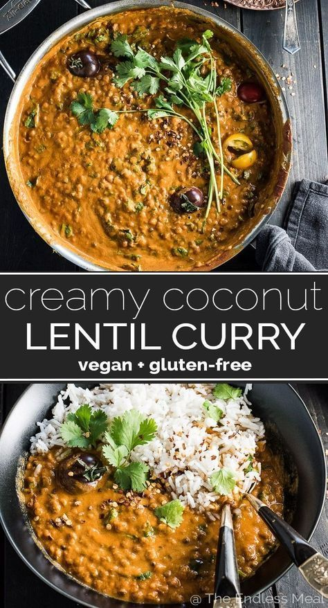 SAVE FOR LATER! This easy to make Creamy Coconut Lentil Curry takes less than an hour to make (mostly hands off time) and is packed full of delicious Indian flavors. It's a healthy vegan recipe that makes a perfect meatless Monday dinner recipe. Make extras and you'll have a giant smile on your face at lunch the next day. | #theendlessmeal #coconutcurry #lentils #lentilcurry #vegan #glutenfree #curry