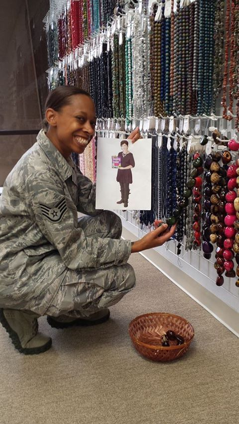 Flat Cathy giving bead advise to Sgt Alex Price at Bead Bistro, TX.