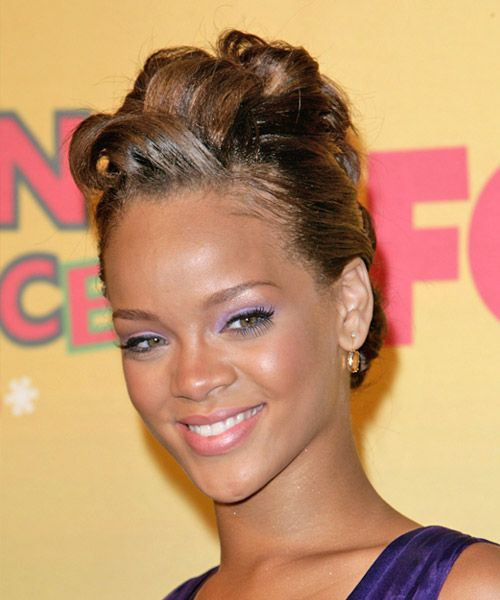 Rihanna Hairstyle – Formal Updo Long Straight | Hairstyles 2014