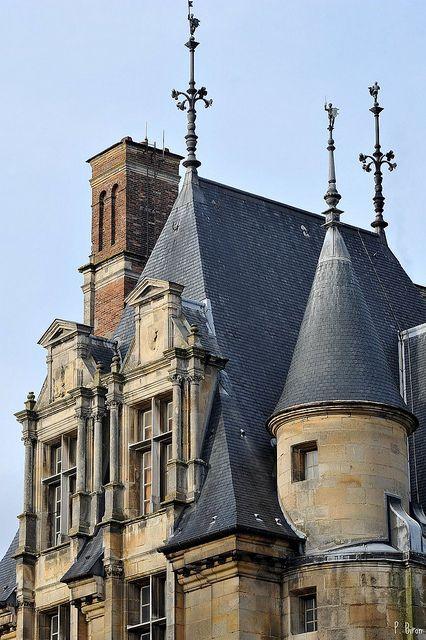 Détail des lucarnes du Château d'Ecouen - Val d'Oise - france 16th century a Museum of the Renaissance