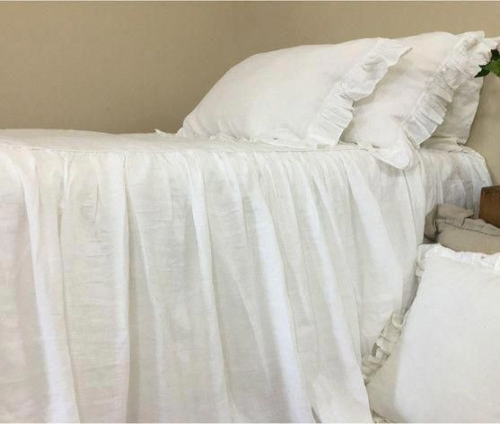 white linen bedspread waterfall ruffled bed cover shabby chic rh pinterest com