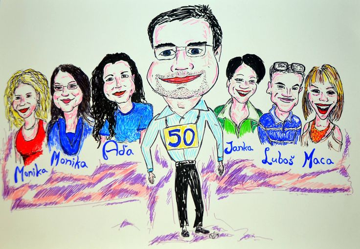 team members caricature