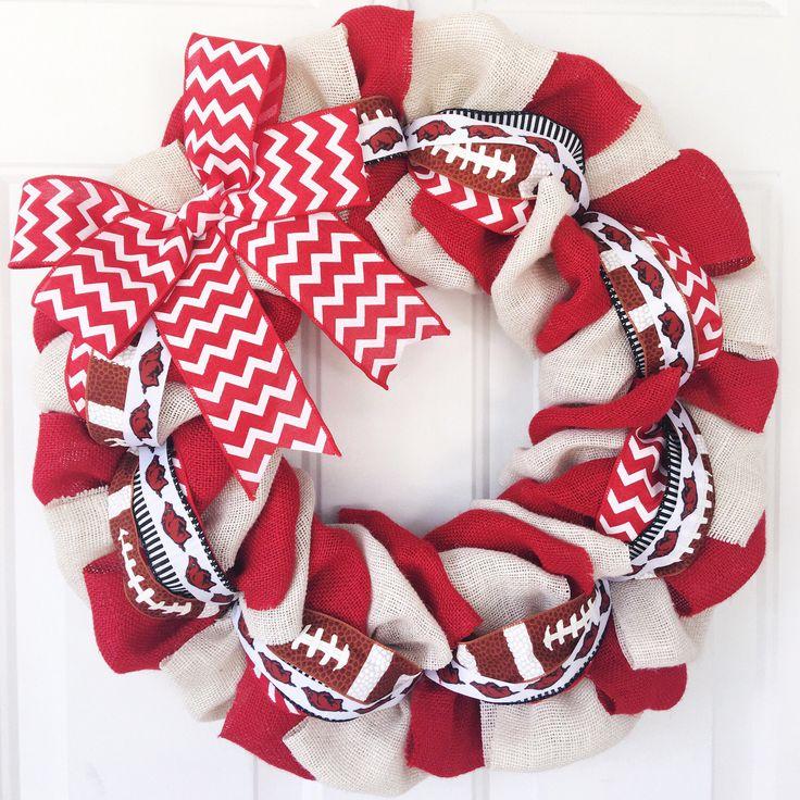 Arkansas Razorbacks Wreath, Hogs Wreath, College Football Wreath, Fall Burlap Wreath, Fall Wreath, Chevron Wreath, Football Wreath, Hogs by BurlapWreathsByMo on Etsy https://www.etsy.com/listing/242692301/arkansas-razorbacks-wreath-hogs-wreath