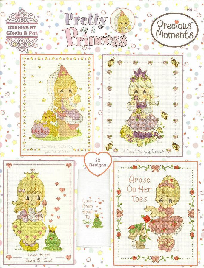 Cross Stitch Pattern Pretty As A Princess by Designs by Gloria and Pat, Precious Moments Cross Stitch Chart  (PM63) by NeedleAndCrafts on Etsy