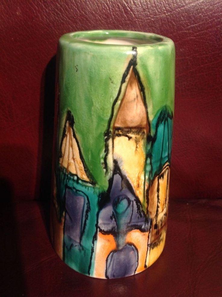 "ELIO SCHIAVON Art Pottery Ceramic 5"" CITYSCAPE VASE Signed ITALY Italia vintage"