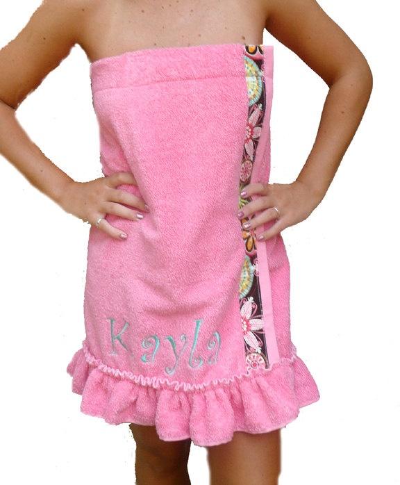 Spa Towel Wrap, Ruffled Towel Wrap, Neon Pink with Michael Miiller Carnival in Bloom Trim. $29.50, via Etsy.
