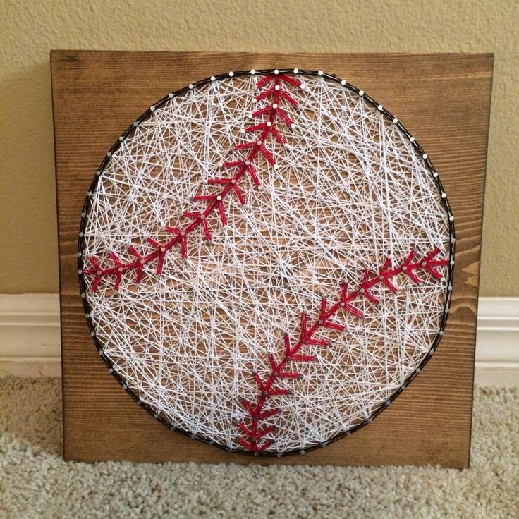 Baseball string art- order from KiwiStrings on Etsy! www.KiwiStrings.etsy.com