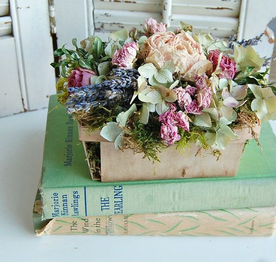 Dried Flower Arrangement Cottage Chic by roseflower48 on Etsy, $21.00