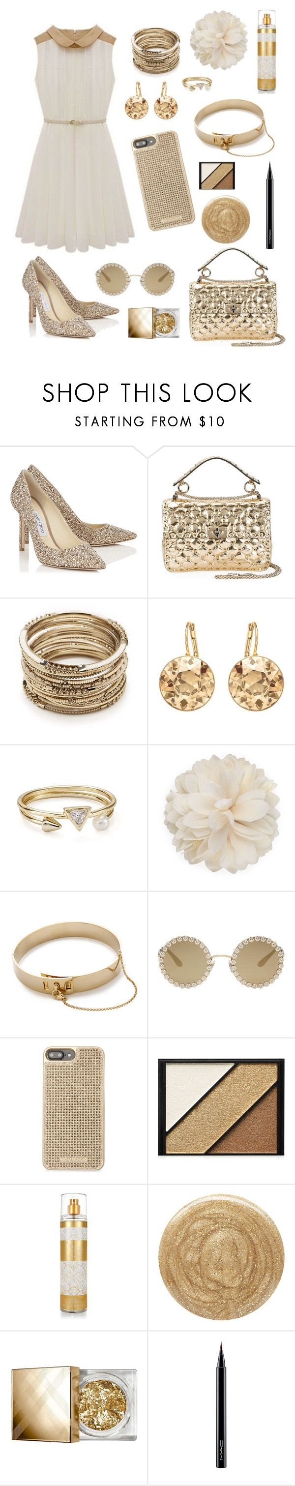 """""""Gold"""" by hanyou-mobster ❤ liked on Polyvore featuring Jimmy Choo, Valentino, Sole Society, Argento Vivo, Gucci, Eddie Borgo, Dolce&Gabbana, Michael Kors, Elizabeth Arden and Jessica Simpson"""