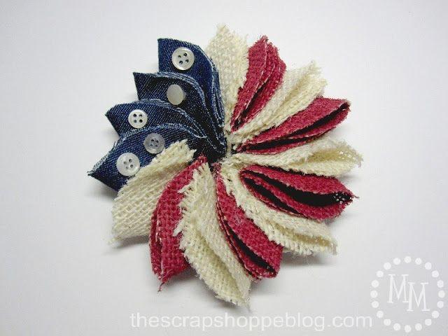 The Scrap Shoppe: Mini Patriotic Wreath Pin (It's a flower!  A patriotic flower!)