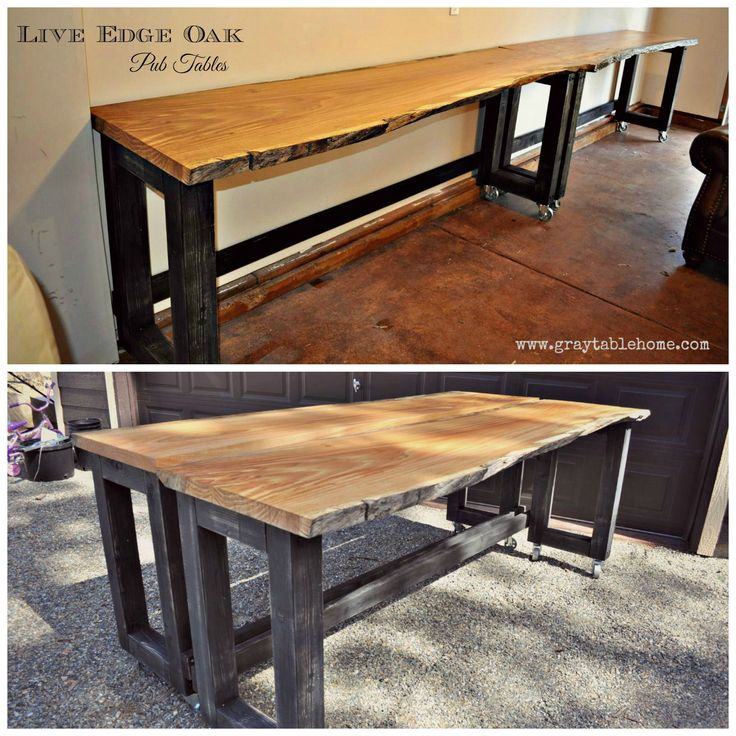 DIY Live Edge Oak Pub Tables   On Wheels So That They Can Be Positioned  Into A Long Bar Or Back To Back Into A Pub Table.