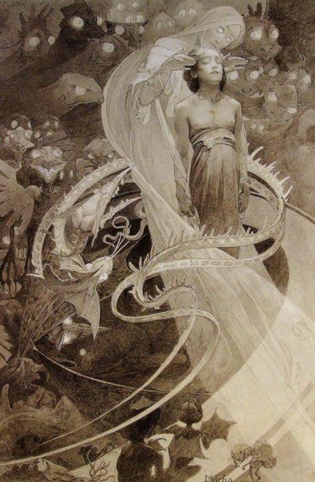 Alphonse Mucha via Frank T .Zumbachs Mysterious World
