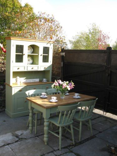 I love this colour. Welsh dresser with matching table and chairs. www.rusticevents.com