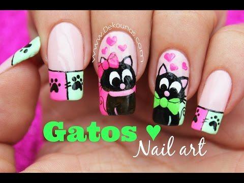 Decoración de uñas gatos enamorados - Cats inlove nail art - YouTube