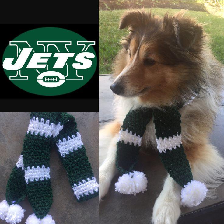 Jets Dog Scarf, New York Jets Dog Scarf, Jets, Dog Scarf, Pet Scarf, Jets Scarf, New York Football, Jets Football, NFL, Jets dog, NFL Scarf by TheHookster on Etsy