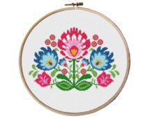 flowers cross stitch pattern, Cross Stitch Pattern, floral pattern counted cross stitch, cross stitch baby bibs, Instant download