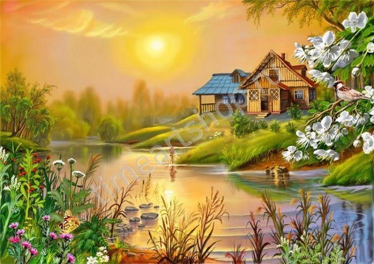 весенний вечер, картина раскраска по номерам, размер 40*50см, цена 750 руб.