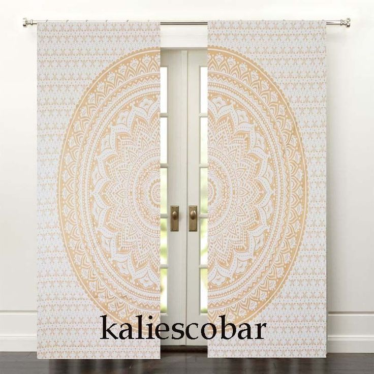 Gold Ombre Mandala Curtain Hippie Wall Hanging Door Window Curtain Valances Set #Unbranded #Traditional