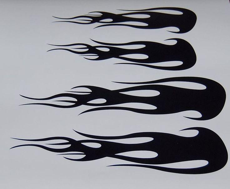 Details About Custom Flame Vinyl Decals Bike Helmet
