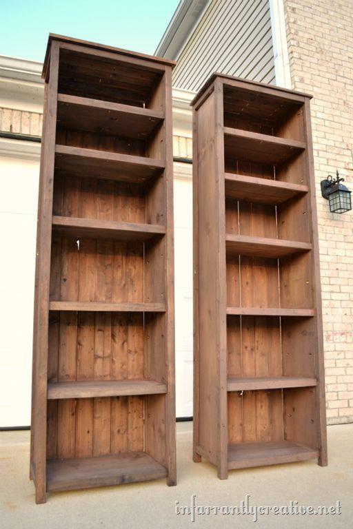 Two tall, narrow bookshelves.
