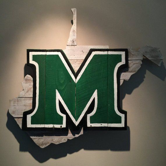 Wooden State Of West Virginia With Marshall Logo Made From Pallet Wood The Products Displa West Virginia Marshall University Marshall Thundering Herd Football