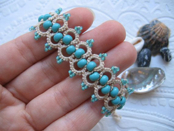 Tatted lace bracelet I can made the same color earrings https://www.etsy.com/listing/253380896 or https://www.etsy.com/listing/253381312