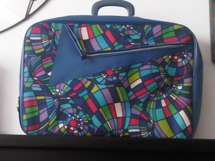 Psychedelic Disco Ball Fabric Suitcase, 1970 Vintage Partridge Family. $35.00, via Etsy.