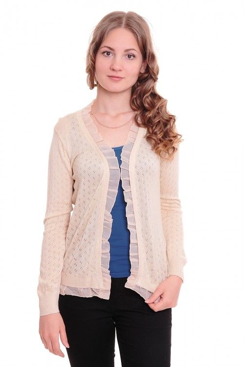 Кардиган А6086 Размеры: 42-44 Цвет: бежевый Цена: 300 руб.  http://optom24.ru/kardigan-a6086/  #одежда #женщинам #кардиганы #оптом24