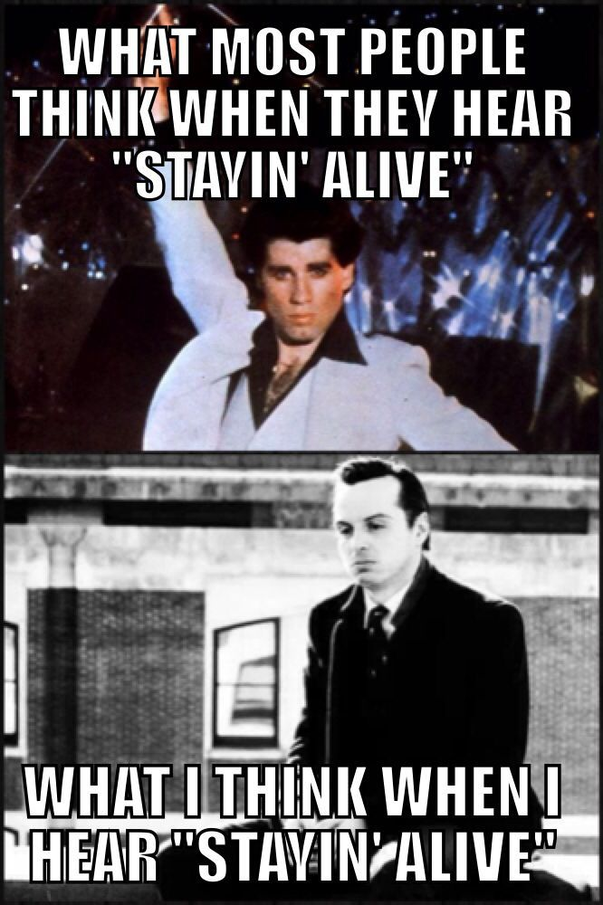 Stayin' Alive. Heard in in the underground the other day (someone's ringtone in front of me) while wearing Sherlock's replica coat (my daily WInter coat now, yes). It was awesome :)