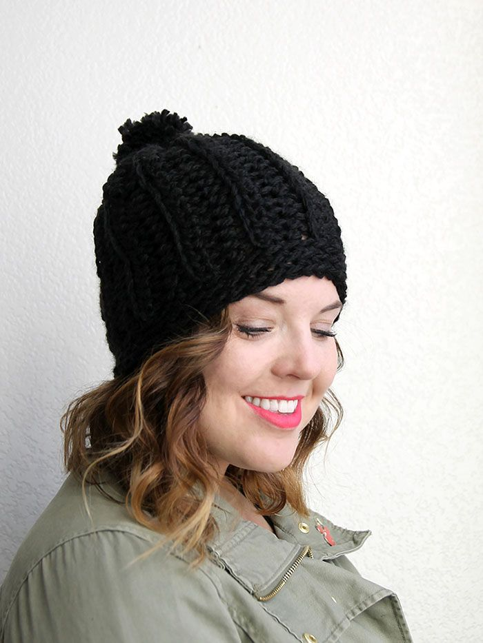 This cute chunky crochet hat has lots of texture and a slouchy style. The pattern works up quickly thanks to thick yarn and a big hook.