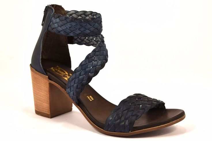 DIVINE FOLLIE 57698 TRECCIA BLU Sandalo Donna Tacco Largo 7,5 cm Cinturino Pelle