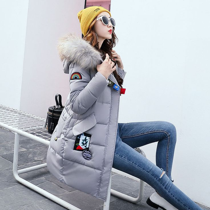 Winter Ladies Parka Women's Down Slim Jacket Long Cotton Fur Collar Coat