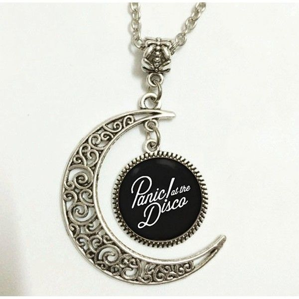 Charm Crescent Moon Panic! At the Disco Band Logo Pendant Necklace ($11) ❤ liked on Polyvore featuring jewelry, necklaces, pendant charms, disco necklace, pendant necklace, charm jewelry and charm necklace