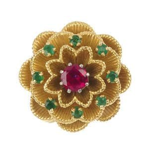 CARTIER - a ruby and emerald floral dress ring.