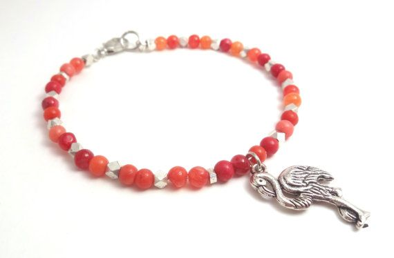 Orange & Silver Beaded Charm Bracelet, Flamingo, Claw Closure, Dainty