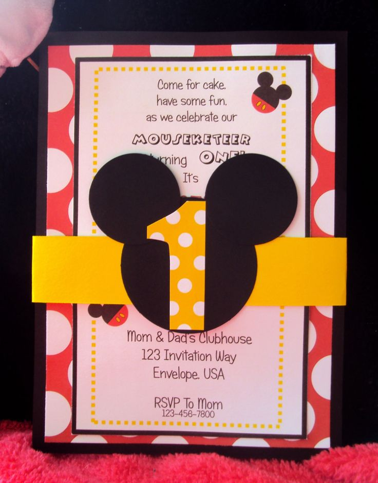 Mickey Mouse birthday party invitations Mickey by TooCuteInvites