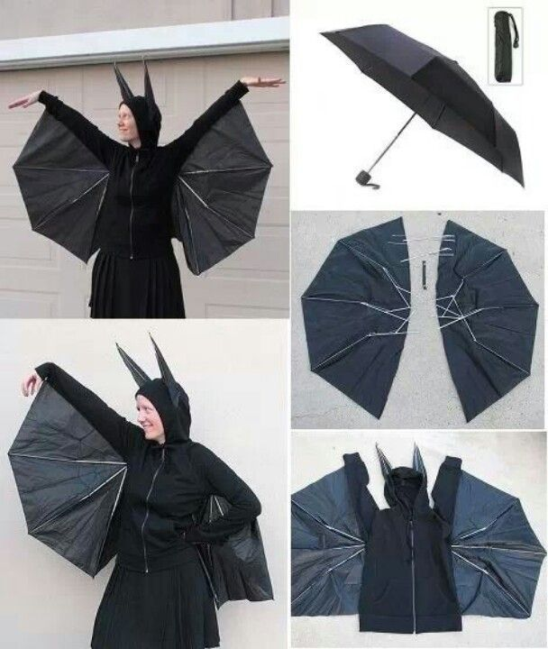 Here are instructions from Evil Mad Scientist about how to transform a basic black commuter umbrella and a hoodie into a cute DIY bat costume. The only materials that you will need are an umbrella and a hooded zippered sweatshirt, and you will also need some tools and supplies: needle …