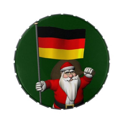 Santa Claus With Flag Of Germany Candy Tin
