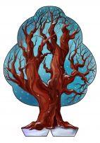 Дерево «Времена года». Зима,  шаблон зимнего дерева